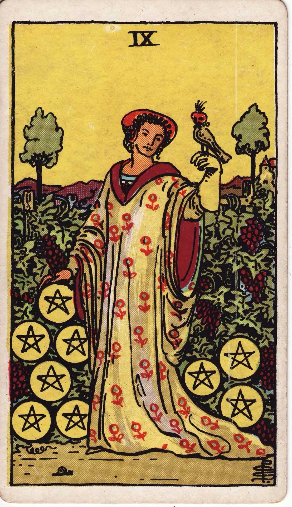 Nueve De Oros Carta Del Tarot